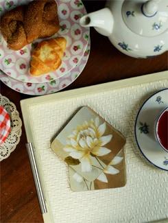 Floral Motif Hardboard Coasters (Set Of 6) - Freelance