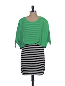 Striped Dress With Green Top - Liebemode