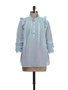Sheer Cobalt Blue Top With Ruffled Shoulders - Liebemode