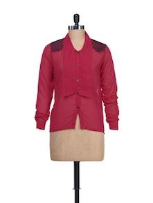 Hot Pink Sheer Shirt With Tie Up Collar - Liebemode
