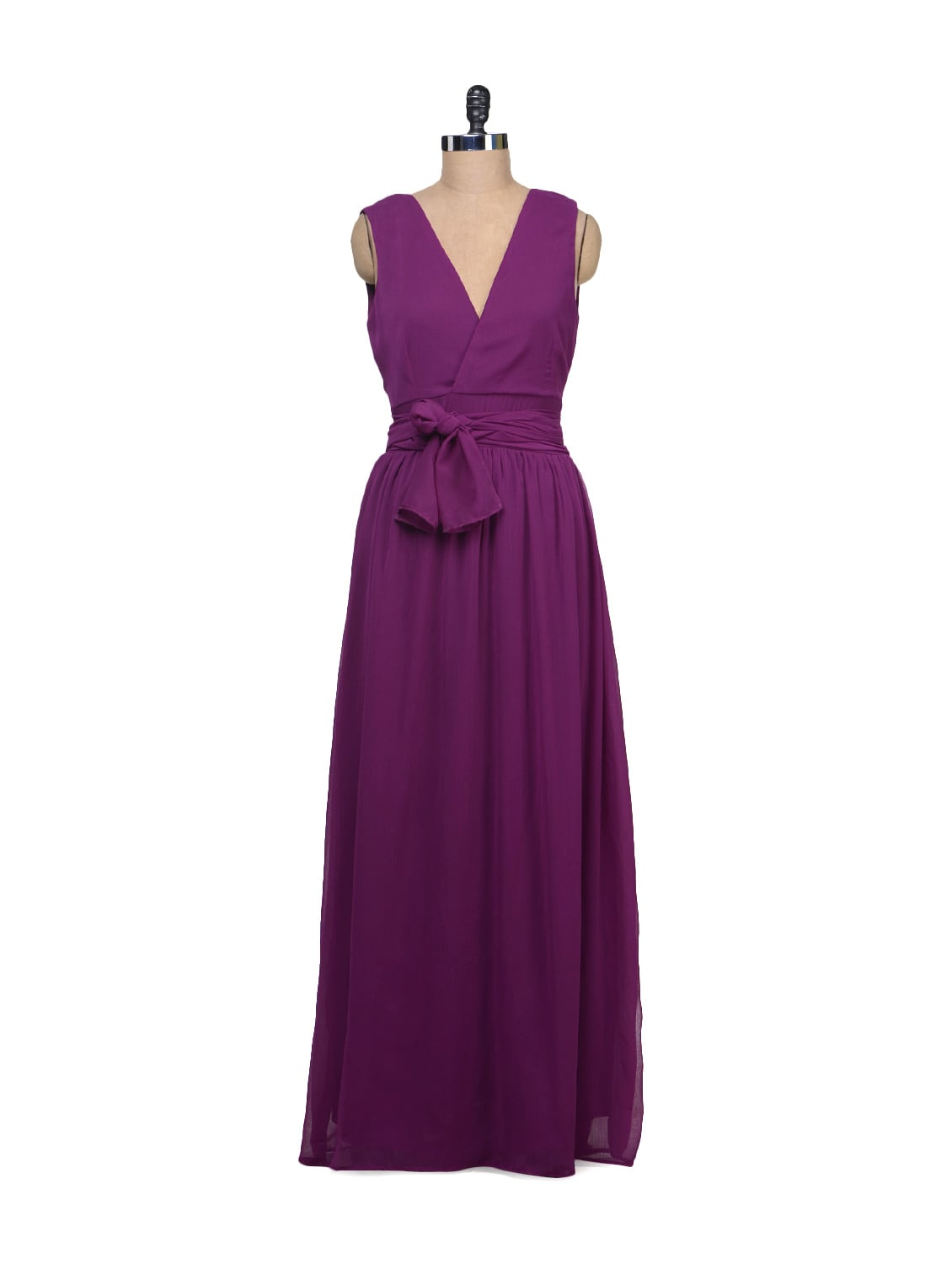Wrap Purple Dress With Plunging Back - Liebemode