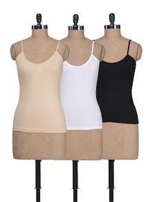 Beige, White & Black Camisoles - Pack Of 3 - Lady Lyka