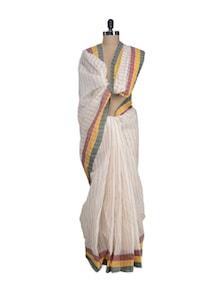 White Cotton Saree In Elegant Stripes - Aadrika Saree