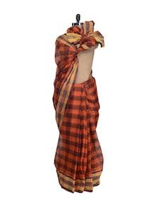 Orange Square Weave Saree - Aadrika Saree