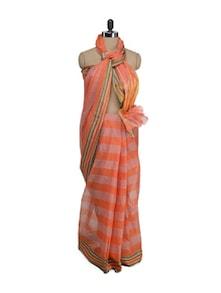 Cotton Saree In Orange Stripes - Aadrika Saree
