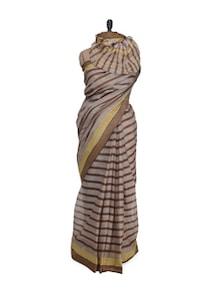 Striped Grey Saree With Pin Striped Border - Aadrika Saree