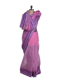 Pink Saree With Ikkat Weave Border - Aadrika Saree