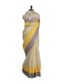 Classic Beige Cotton Saree With Yellow-Grey Border - Aadrika Saree