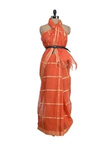 Orange Square Weave Saree With Rich Gold Border - Aadrika Saree