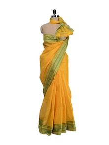 Alphonso Yellow Saree With Banarasi Border - Aadrika Saree