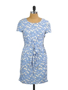 Blue, White Printed Dress - Mishka