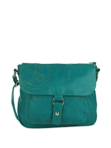 Turquoise Sling Bag With Buckled Overflap - Lino Perros