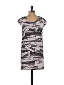 Elegant Ecru Printed Dress - I AM FOR YOU