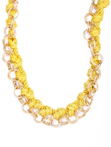 Chic Yellow & Gold Braided Necklace - CIRCUZZ