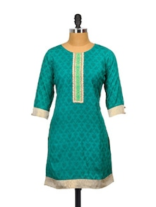 Teal Tranquil Cotton Kurta - Glam And Luxe