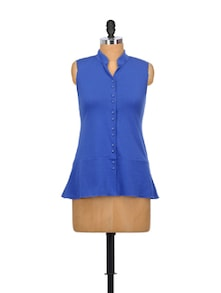 Boisterous Blue Cotton Top - Glam And Luxe