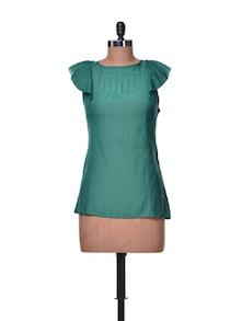 Cap Sleeved Teal Green Top - La Zoire