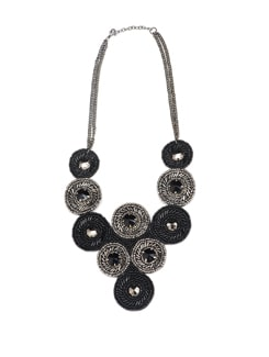 Black And Silver Beaded Bib Style Necklace - Accessory Bug