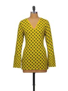Long Sleeved Printed Yellow Top - Indricka