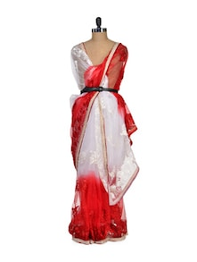 Red And White Net Saree - Purple Oyster