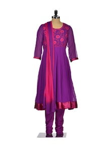 Purple & Pink Embroidered Suit - Seven East