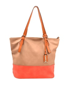Stylish Beige & Orange Handbag - Carlton London
