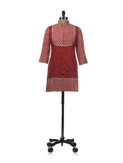 Red Block Printed Kurti Style Top With Fabric Loop Buttons - KILOL