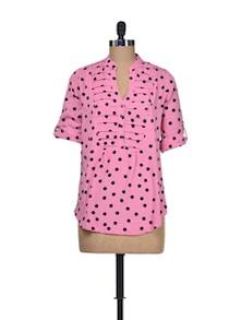 Polka Play Pink Top - Silk Weavers