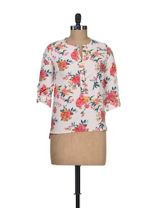 Floral Fantasy Polyester Top - Silk Weavers