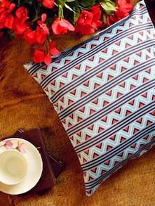 Stylish Blue & Orange Printed Cushion Cover - Ambbi Collections