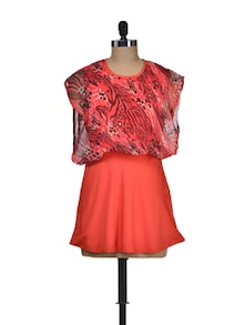 Orange Tunic With Sheer Top - M MERI
