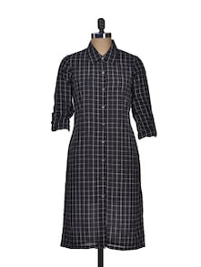Black Checked Long Dress - Dame
