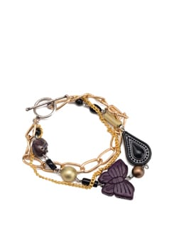 Purple, Gold And Black Chunky Charm Bracelet - Eesha Zaveri; Jewellery By Design