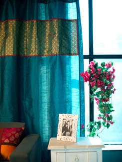 Curtain In Poly Silk With Green And Gold Brocade Panel - Nakalchee Bandar