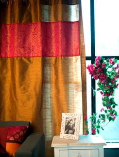 Deep Mustard Poly Silk Curtain With Pink And Copper Brocade Panel - Nakalchee Bandar