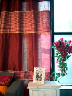 Maroon Curtain In Poly Silk With Polyester Dobby Panels - Nakalchee Bandar
