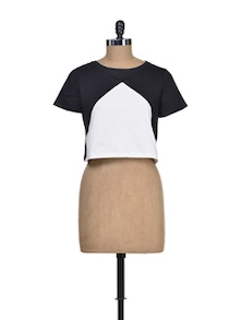 Black & White Colorblocked Crop Top - Miss Chase