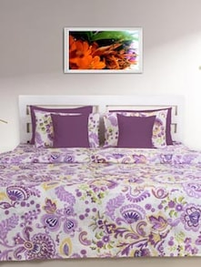 Purple & White Printed Double Comforter - HOUSE THIS
