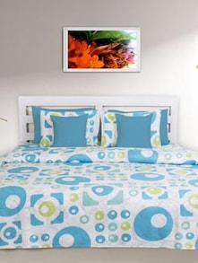 Blue & White Geometric Double Comforter - HOUSE THIS