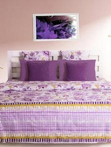 Elegant Purple Printed Bedsheet With Pillow Covers - HOUSE THIS