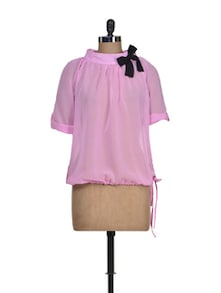 Sheer Baby Pink Top With Tie-up - Tapyti