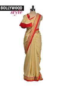 Elegant Beige-Gold Designer Saree - Get Style At Home