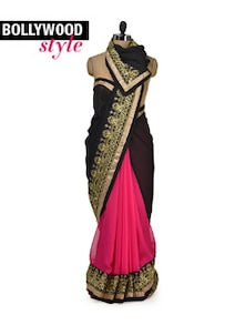 Elegant Black & Pink Designer Saree - Get Style At Home