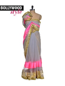 Designer Grey Net Saree - Get Style At Home