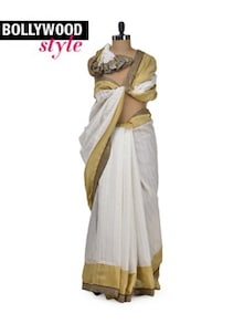 Elegant White & Gold Designer Saree - Get Style At Home