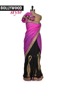 Elegant Pink & Black Designer Saree - Get Style At Home