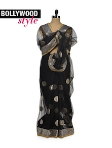 Designer Black Net Saree - Get Style At Home