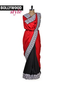 Red & Black Designer Saree - Get Style At Home