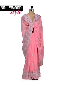 Delicate Pink Designer Saree - Get Style At Home