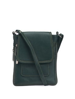 Green Faux Leather Sling Bag - ALESSIA